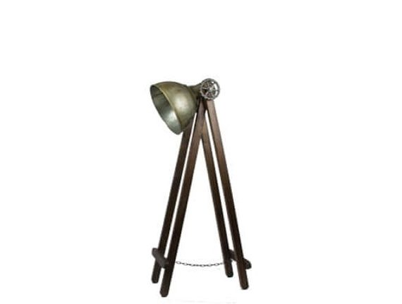 Staande lamp oldlook met houten onderstel de hebberij