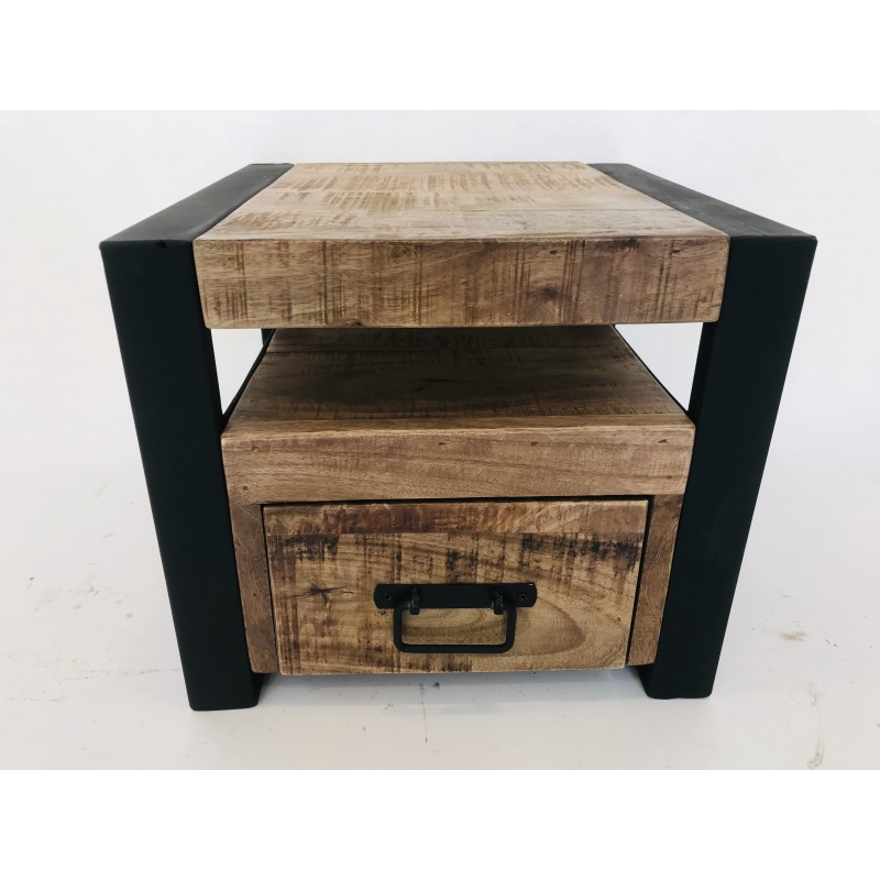 Fonkelnieuw Stoer hout/ijzeren nachtkastje laag model - De Hebberij OJ-22